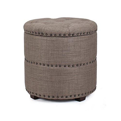 Homebeez Euro Style Fabric Bench Ottoman Chair Footstool, Wood Legs, lid storage, Nailhead Trim, Cylinder - Nailhead Brown Trim