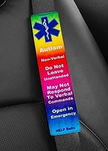 Autism, Non-Verbal, Help Belt® Medical Alert Seat Belt Cover (Rainbow)