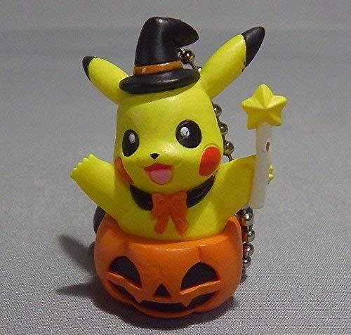 Nintendo Sun & Moon Halloween Pumpkin Figure Swing Keychain~Pikachu Black Cape -