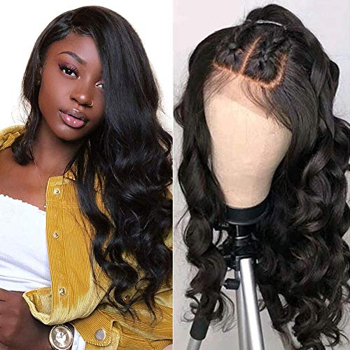 VSHOW Hair Brazilian Body Wave Human Hair Lace Front Wigs 13x6 Pre Plucked Natural Hairline Lace Wigs Free Part Natural Color(14 Inches)