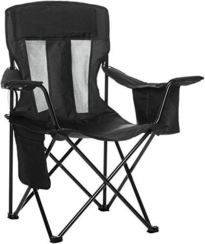 Outdoor Camping Chair - AmazonBasics Mesh Folding Outdoor Camping Chair With Bag - 34 x 20 x 36 Inches, Black
