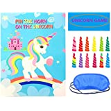 Pin The Horn on The Unicorn Party Game for Kids Birthday Party Decorations,Birthday Party Favor Games,Unicorn Party Supplies Unicorn Gifts for Kids