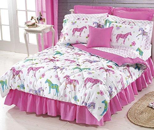 8pc Twin Size Pink Flower Pony