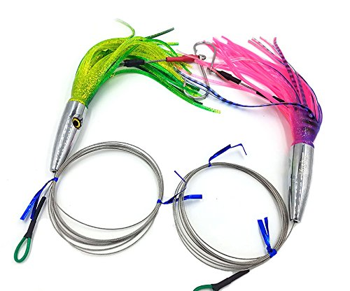 - 2 Pack High Speed Skirted Wahoo & Tuna Lures Rigged 6 Ft 150 LBS Leader + Bag