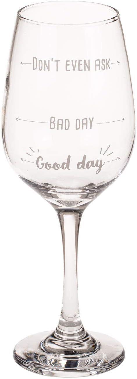 Dont Even Ask 420 ml Aprox Bad Good Day Out of the blue 750116 Copas de Vino Estampadas 22,5 cm en Caja de Regalo de Papel de estraza Vidrio