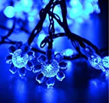 Rextin 20ft 30 LED Sunflower Solar String Lights Blue Waterproof Outdoor for Garden Patio Fence Path Landscape Wedding Party Christmas Decoration (Blue)