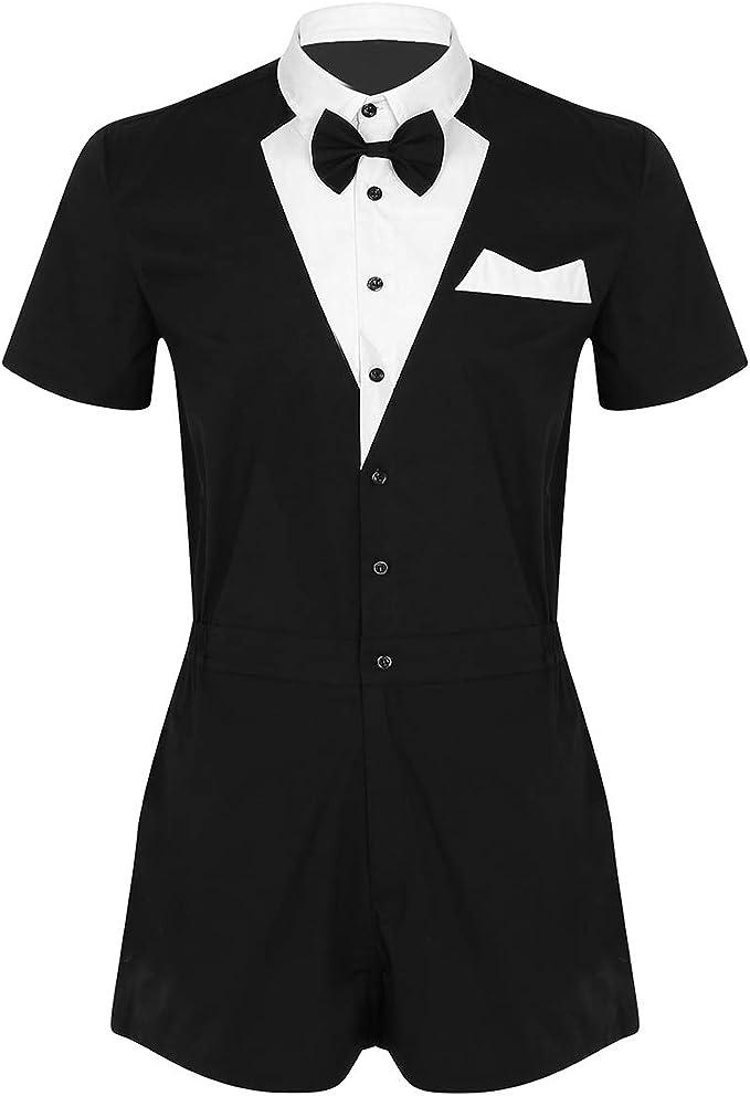 IEFIEL Mono Smoking Camiseta Negro Traje Formal Hombre Conjunto Una Pieza Bodysuit de Esmoquin Gentleman Traje al Estilo Occidental Moderno: Amazon.es: Ropa y accesorios