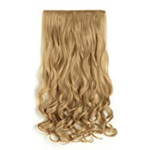 OneDor 20 Inch Curly 3/4 Full Head Synthetic Hair Extensions Clip On/in Hairpieces 5 Clips 140g (25#-light Golden Blonde)