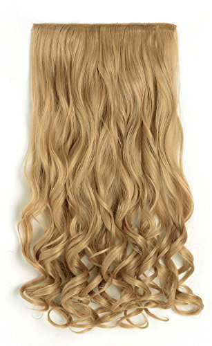 "Price comparison product image OneDor 20"" Curly 3/4 Full Head Synthetic Hair Extensions Clip On/in Hairpieces 5 Clips 140g (25#-light Golden Blonde)"