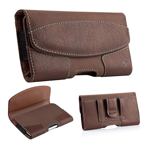 2 Pack iNNEXT iPhone 8 Plus Pouch Case, Premium Horizontal Leather Case Pouch Holster with Magnetic Closure with Belt Clip Holster and Belt Loops for iPhone 7 Plus/6S Plus 5.5 inch (Brown/Black) by iNNEXT (Image #7)