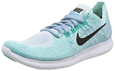 Nike Womens Free RN Flyknit 2017 Running Shoe BLUE TINT/BLACK-CIRRUS BLUE-AURORA GREEN 7.0