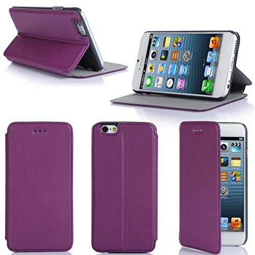 Ultra Slim Tasche Leder Style iPhone 6 4.7 Hülle lila violett Cover mit Stand - Zubehör Etui smartphone 2014 Apple iPhone 6 4,7 Flip Case Schutzhülle (Handy tasche folio PU Leder, Purple) - vorbestell