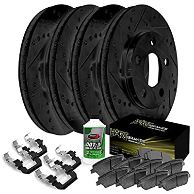 Fits Volkswagen Bora Front Rear Black Drill Slot Brake Rotors Kit+Ceramic Brake Pads: Automotive