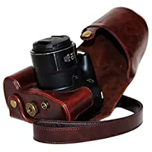 Clanmou Protective Leather Camera Case Bag for Canon PowerShot SX60 HS Digital Camera with Camera Shoulder Strap Dark Brown