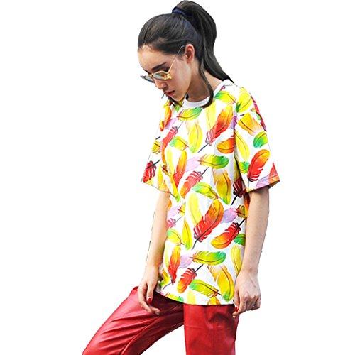 PIZOFF Women Unisex Luxury Faux Alligator Leather T-Shirts P3616-F-Yellow-M