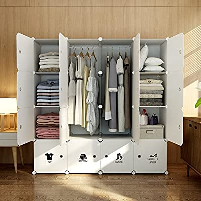 MAGINELS Portable Wardrobe Closet Armoire Cube Storage Organizer for Clothes Bedroom with Drawer White from MAGINELS