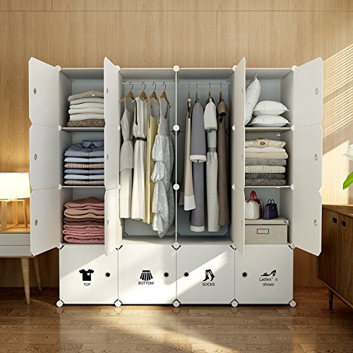 (MAGINELS Wardrobe Clothes Closet Bedroom Armoire Dresser Cube Storage Organizer Portable 30% Deeper Cube White Sticker 10 Cube & 2 Hanging Sections)