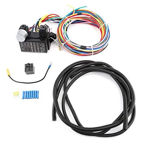 Aramox Wiring Harness,12V Car Universal Circuit Wiring Harness Car Complete Circuit Wire Kit: