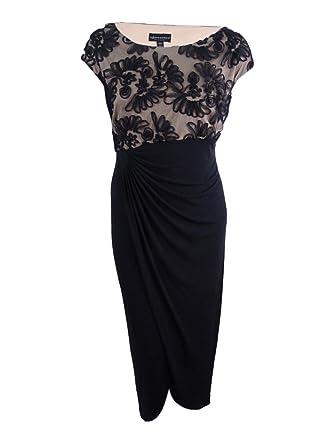 aa3b16e0 Image Unavailable. Image not available for. Color: Connected Women's Plus  Size Soutache Faux-Wrap Gown (24W, Black/Nude)