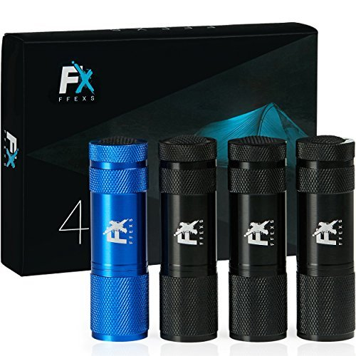 Multi Pack Mini (LED Flashlight 4 Pack Small & Lightweight Flashlights Pocket Torch Multipack of Super Bright 9 LED Mini Aluminum - Flash Lamp Perfect for use around the House use for Dog Walking Travel)