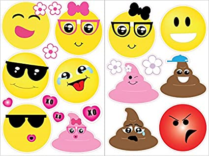 Amazon.com: Emoji Wall Decals Stickers with Hearts and Flowers ...