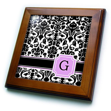 Personalized Framed Tile - 3dRose ft_154382_1 Personal Initial G Monogrammed Pink Black and White Damask Pattern Girly Stylish Personalized Letter Framed Tile, 8 by 8-Inch