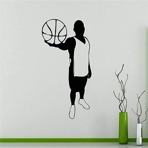 GUDOJK Pegatinas Pegatinas de Pared Jugador de Baloncesto Silueta ...