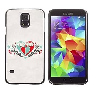Licase Hard Protective Case Skin Cover for Samsung Galaxy S5 - Cute Birds & Heart Love