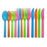 Party Essentials Hard Plastic Cutlery Combo Pack, Knives/Forks/Spoons, 32 Place Setting-Count, Assorted Neon