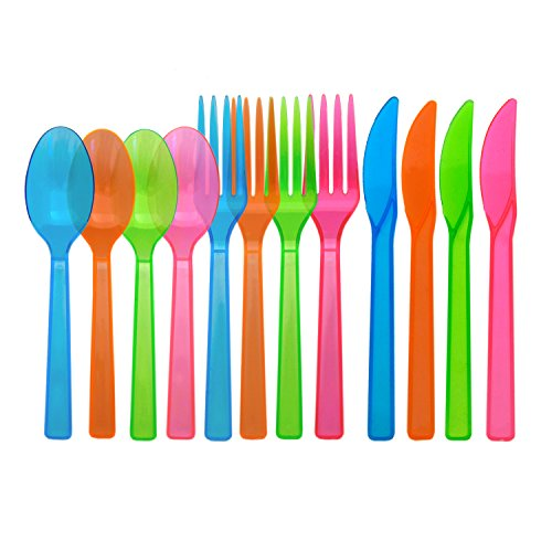 party essentials hard plastic cutlery combo pack 288 pieces96 place settings assorted neon brights