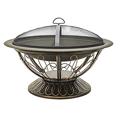 CobraCo FB8001 Aegean Steel Fire Pit - Steel fire pit is easy to assemble Elevated design for better viewing Fire bowl has high-temp black finish - patio, outdoor-decor, fire-pits-outdoor-fireplaces - 516kAgb6ZVL. SS400  -
