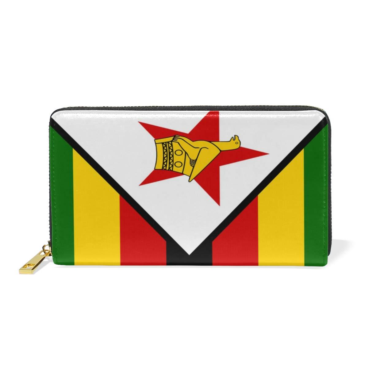 Slim Minimalist Leather Wallets For Women Men Zimbabwe Flag