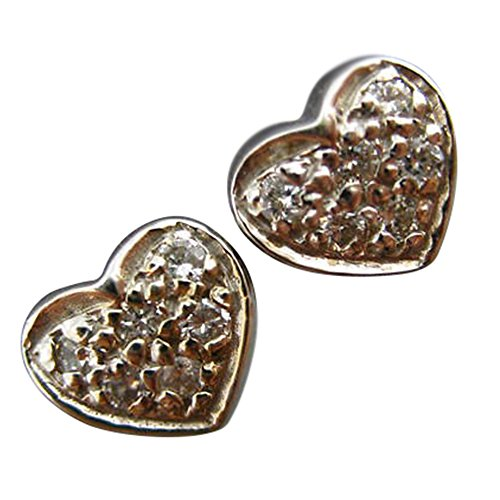 .24CT DIAMOND 14KT WHITE GOLD 3D CLASSIC PAVE HEART STUD EARRINGS (0.24 Ct Pave Diamond)