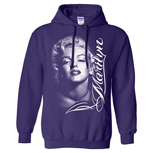 Marilyn Monroe Portrait Signature Sweatshirt Hoodie - Purple Large