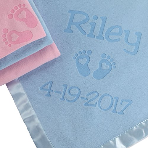 PERSONALIZED NEWBORN GIFTS FOR BABY GIRLS, BOYS, OR PARENTS - (36 x 36 inch) Satin Trim Custom Blanket with Name Plus Hearts and Feet Design - Add Birth Date, Weight (Pink, Blue - Long Text) (Personalized Baby Gifts Girls)