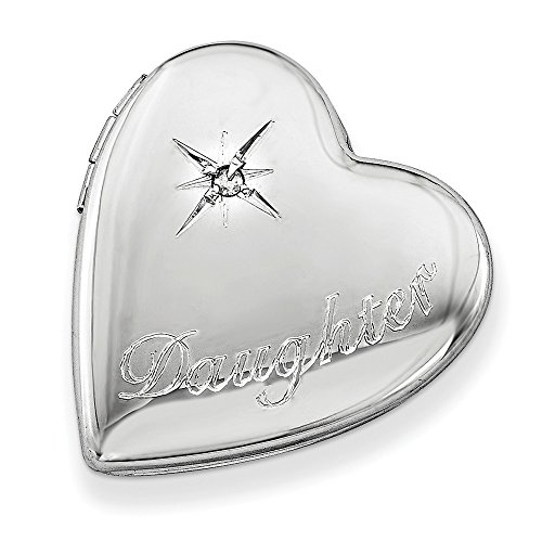 - Solid 925 Sterling Silver 20mm Diamond Polished Daughter Love Heart Slide Locket Opens Engravable Pendant (.01 cttw.) (20mm x 20mm)