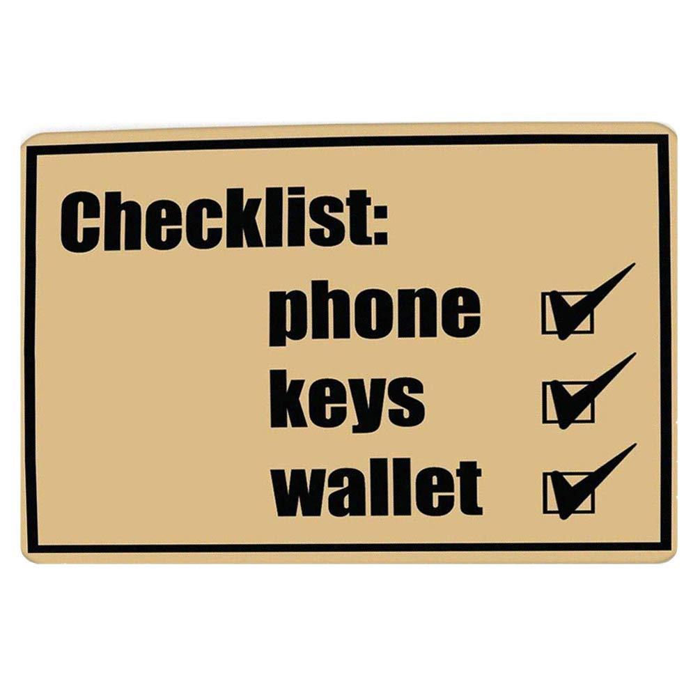 Coloranimal Door Mat Non-slip Funny Doormat Checklist Phone Key Wallet Don't Forget Indoor Outdoor Thin Lightweight Area Rugs
