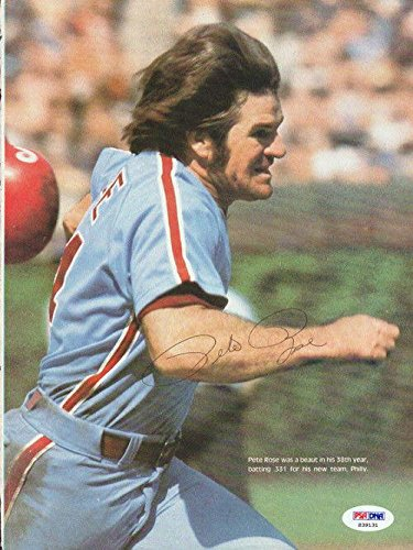 Pete Rose Autographed Signed Magazine Page Photo Cincinnati Reds S39131 PSA/DNA Certified Autographed MLB Magazines