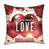 ♥liuxuelifg3♥ Cartoon Valentine Linen Cushion Covers Pillow Cases Decoration Cotton Square Throw Pillow Case Decorative, Sofa Cushion Pillow Cover for Bedding Home Decor