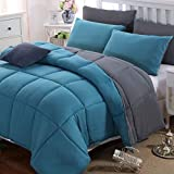Mohap Weighted Blanket Cotton Quilt Fall Asleep Faster and Sleep Better (Double Size, Grey and Teal)