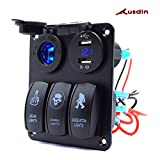 rocker switch panel box - Switch Panel,Ausdin 3 Gang Laser Rocker Switch Panel Led Light Bar Control Box Marine Rocker Switch Dual USB 4.2A Outlet 12-24v Voltmeter Aluminum Heavy-Duty Waterproof Panel 14 Gauge Wiring Harness
