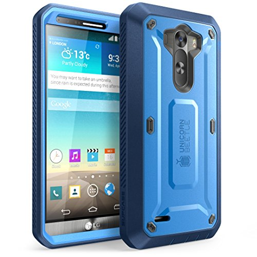 LG G3 Case, SUPCASE [Heavy Duty] LG G3 Case [Unicorn Beetle PRO Series] Full-body Rugged Hybrid Protective Case with Built-in Screen Protector (Blue/Blue), Dual Layer Design + Impact Resistant Bumper