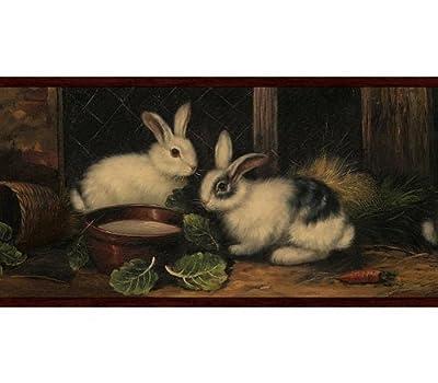 Burgundy Country Rabbits Wallpaper Border 54062 GG