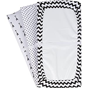 Changing Pad Cover Set   Cradle Bassinet Sheets/Change Table Covers for Boys & Girls   Super Soft 100% Jersey Knit Cotton   Black and White   150 GSM   3 Pack
