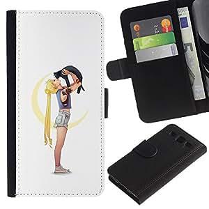 Protector de cuero de la PU de la cubierta del estilo de la carpeta del tirón BY RAYDREAMMM - Samsung Galaxy S3 III I9300 - Niña Gata