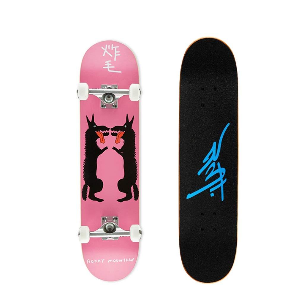 LIUFS-スケートボード プロロングボードコンプリートスケートボードダブルアップスケートボードユーススタンダードスケートボードブラシストリート初心者 - 黒犬 ブラック
