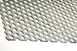 A36 Steel Perforated Sheet, Unpolished (Mill) Finish, Hot Rolled, Staggered 0.25'' Holes, ASTM A36, 0.12'' Thickness, 11 Gauge, 36'' Width, 36'' Length, 0.375'' Center to Center