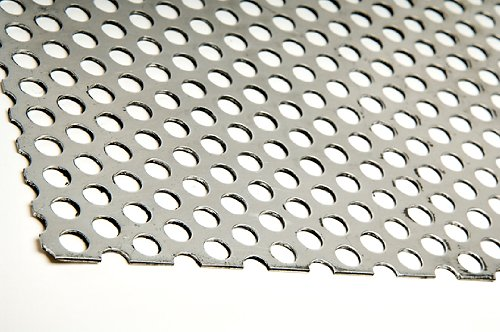A36 Steel Perforated Sheet, Unpolished (Mill) Finish, Hot Rolled, Staggered 0.25'' Holes, ASTM A36, 0.12'' Thickness, 11 Gauge, 36'' Width, 36'' Length, 0.375'' Center to Center by Small Parts