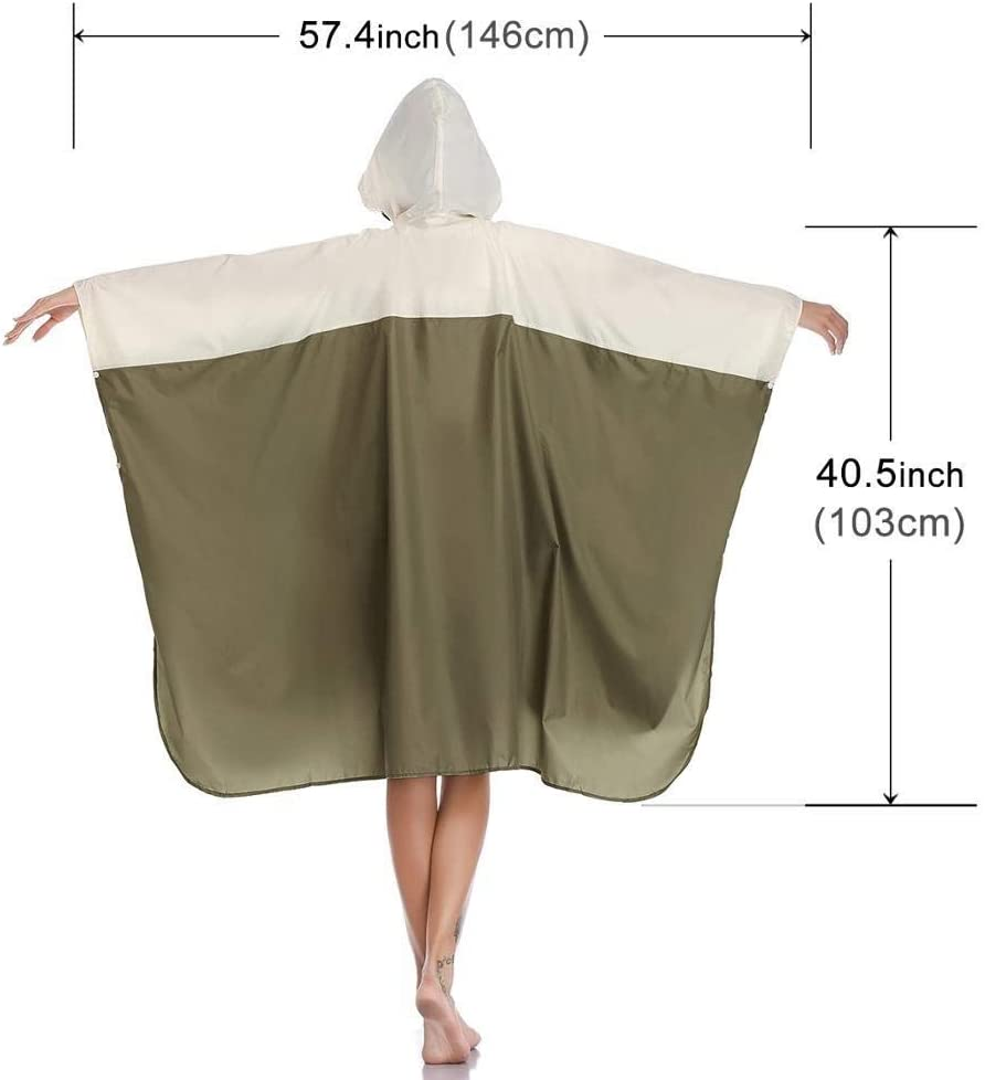 ZXF Raincoat Poncho Hooded Waterproof For Adults Men Women With Pockets (Color : Green Creamy White) Navy Creamy White