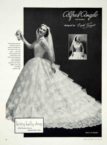 1956 Ad Alfred Angelo Vintage Wedding Dress Edythe Vincent Bride Bridal Gown - Original Print Ad